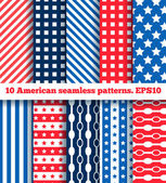 Set of ten american seamless pattern — Stock Vector