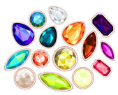 Big pile of gems isolated on white background — Stock Vector