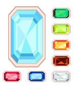 Amber, citrine, ruby, diamond, sapphire, emerald rectangle gemst — Stock Vector