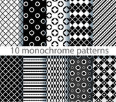 Ten seamless monochrome pattern. EPS10, no gradients — Stock Vector