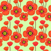 Poppy seamless pattern. EPS10. No gradients, no transparency — Stock Vector