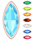 Amber, citrine, ruby, diamond, sapphire, emerald oval gemstone s — Stock Vector