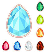Amber, citrine, ruby, diamond, sapphire, emerald teardrop gemsto — Stock Vector