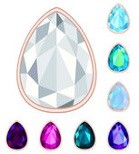 Teardrop gemstone set. EPS10, no gradient, no transparency — Stock Vector