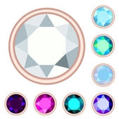 Circle gemstone set. EPS10, no gradient, no transparency — Stock Vector