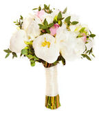 White wedding bouquet with ranunculus asiaticus and pink peony — Stock Photo
