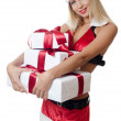 The Christmas girl with boxes of gifts isolated — Stockfoto #11875961
