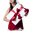 The Christmas girl with boxes of gifts isolated — Stock Photo