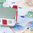 Toy house for euro banknotes as a background — Stock Photo #12941511