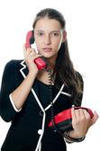 Geschäftsfrau spricht am telefon — Stockfoto