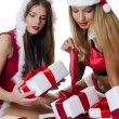 The Christmas girls with boxes of gifts isolated — Stock Photo #13808387