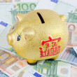 Piggy bank on banknotes from euro — Stock Photo