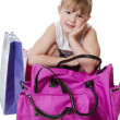 The little girl with lilac bag — Stock Photo