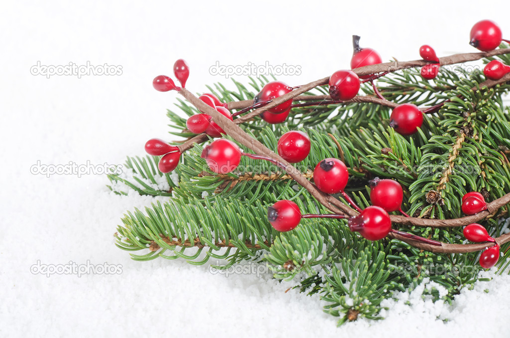 Christmas and New Year Border on snow — Stock Photo #13808266