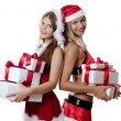 The Christmas girl with boxes gifts — Stok fotoğraf