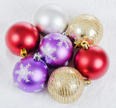 The christmas tree ball in snow — Stock Photo
