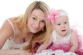 The mother with baby over white — Stock Photo