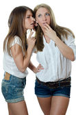 Two girls the girl-friend are whispered — Stock Photo
