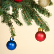 Stock Photo: New Year toy on branch tree