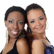 The girl the mulatto and the black girl — Stock Photo