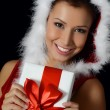 Stock Photo: Christmas girl with boxes of gifts