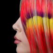 The beautiful girl with a bright make-up and multi-coloured strand in hair — Stock Photo #16907795