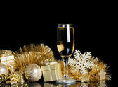 Champagne with Christmas ornaments — Stockfoto