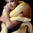 Royalty-Free Stock Photo: The beautiful woman with the big yellow snake
