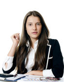 Portrait of the young beautiful businesswoman — Stock Photo