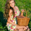 Royalty-Free Stock Photo: The girl sits in a grass with a basket on a sunset