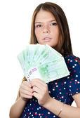 La belle fille avec des billets en euros — Photo