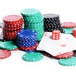 Double aces with big stack and dice over white — Stock Photo #22311435