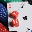 Double aces with big stack and dice - Stock Photo