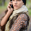 The girl speaks by phone in the autumn - Stockfoto