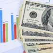 Stock Photo: Banknotes of dollar with chart