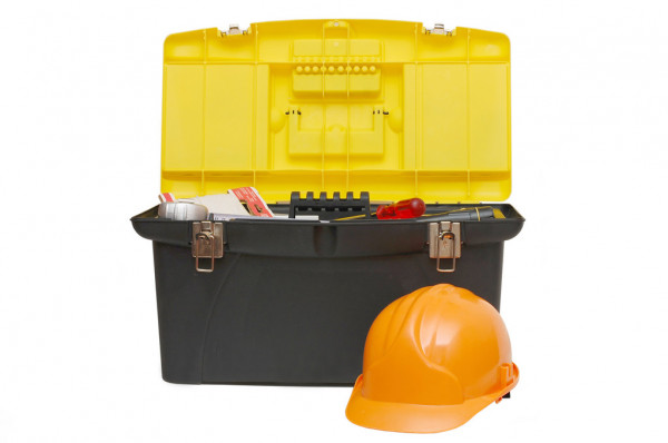 Box for tools a helmet isolated — Stock Photo #2609454