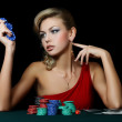 The beautiful woman with casino chips — Stock Photo