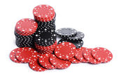 Casino chips isolated on white — Stockfoto