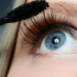 Woman applying mascara on her eyelashes - macro shot — Stock Photo #27550931