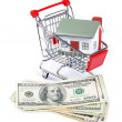 Toy house for dollar banknotes — Stock Photo