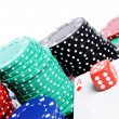 Stock Photo: Double aces with big stack and dice over white