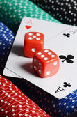Double aces with big stack and dice — Stock Photo
