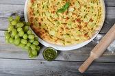 Focaccia with grapes and sauce Pesto — Stock Photo