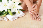 Woman hand and feet with manicure and Lily — Стоковое фото