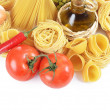Stock Photo: Pasta with spices and vegetables