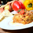 The Italian lasagna on a plate — Stock Photo