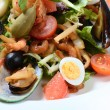Salad with seafood with a squid, a tuna fillet, meat of mussels — Stock Photo