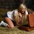 The beautiful woman with a suitcase on hay — Stock Photo