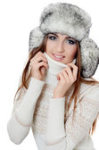 Beautiful girl in hat isolated on white background — Stock Photo