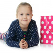 The little girl with a two packages — Foto Stock